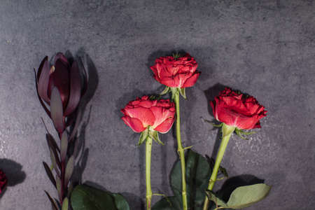 A variety of beautiful flowers lying on a grey table. Flower delivery. The job of a florist