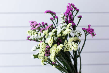 Beautiful bouquet of beautiful flowers. The work of the florist. Flower delivery. Zdjęcie Seryjne