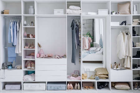 Modern beautiful dressing room with a variety of things