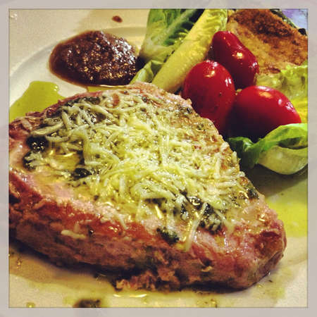 tuna fish with pesto and 4 different cheese with a 3 different chilly jelly and salad awesome
