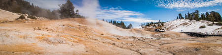 Panorama of a geothermal volcanic area at Lassen National Park