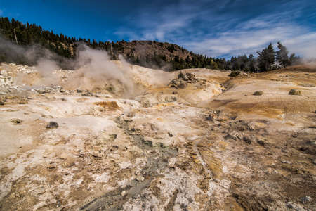A sulfur creek and geothermal vents at Lassen Volcanic National Park