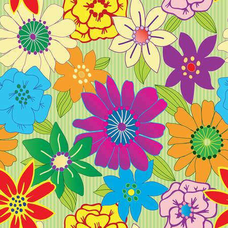 カラフルな花シームレスな繰り返し背景  イラスト・ベクター素材