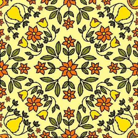 花およびレトロな鳥の装飾タイル、あなたが好きな回数だけ繰り返す 写真素材 - 15602757