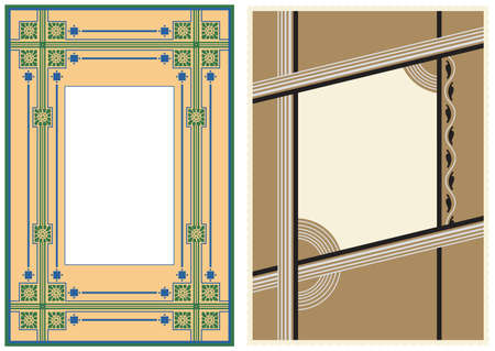 art deco background: Two Vintage Photo Frames  Illustration