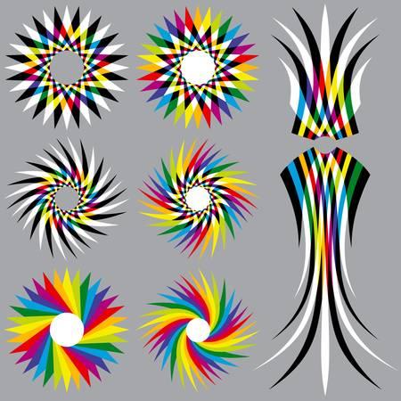 8 レインボー カラー オブジェクト  イラスト・ベクター素材