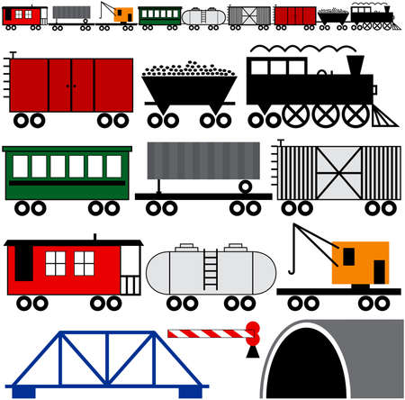 Trains cars and engine