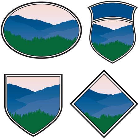 山の風景と様々 な 写真素材