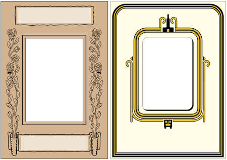 art deco border: Two Vintage Photo Frames ready for your photo to be dropped in Stock Photo