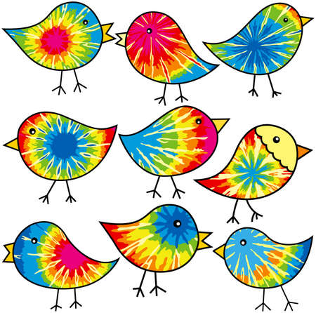 Nine colorful tie-dyed chicks for your designs