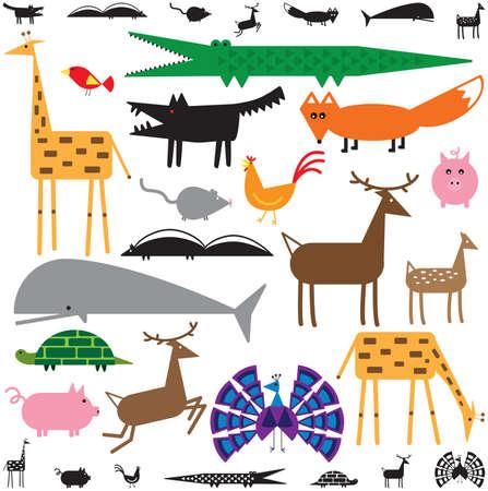 さまざまな色と黒と白で様式化された動物