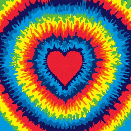Serce, Miłość, Rainbow Tie Dye Ilustracje wektorowe