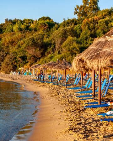 Zakynthos Island, Greece. A pearl of the Mediterranean with beaches and coasts suitable for unforgettable sea holidays. Agios Nikolaos Beach at sunrise.