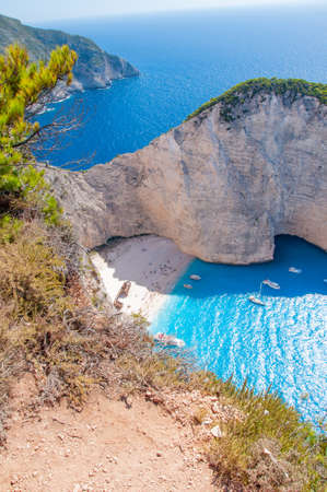 Zakynthos Island, Greece. A pearl of the Mediterranean with beaches and coasts suitable for unforgettable sea holidays. Wreck Beach
