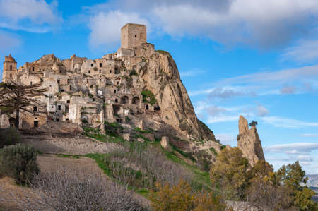 Craco, the ghost town near Matera, the city of stones. Craco famous in the world for being used in films and advertising. Stockfoto