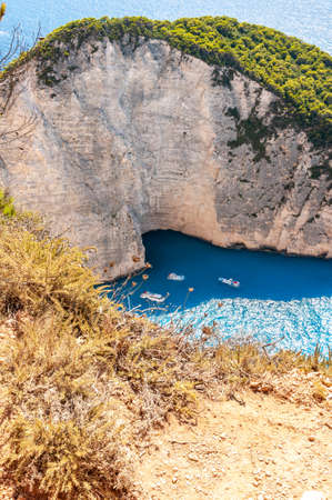 Zakynthos Island, Greece. A pearl of the Mediterranean with beaches and coasts suitable for unforgettable sea holidays. Wreck Beach.