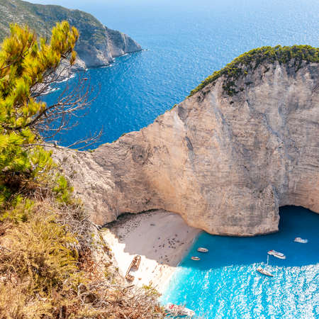 Zakynthos Island, Greece. A pearl of the Mediterranean with beaches and coasts suitable for unforgettable sea holidays. Wreck Beach Stok Fotoğraf