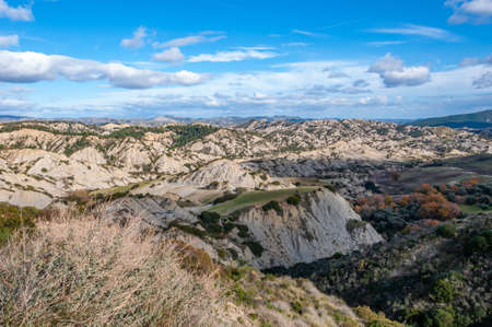 The park of the Aliano gullies, mountains of clay that surround the landscape of the Aliano valleys.