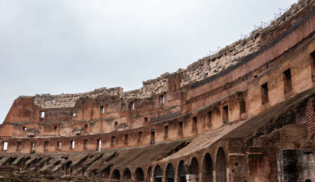 Rome Italy. Interior of the Colosseum, famous for its shows with gladiators in the Roman Empire. View of the stands for the spectators and the underground rooms, from where lions and tigers came out. Imagens