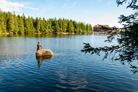 Black Forest in Bavaria, Germany. Untouched nature with mountains, forests, lakes and enchanting countries. Mummelsee lake with mermaid statue.