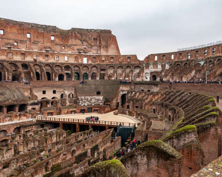 Rome Italy. Interior of the Colosseum, famous for its shows with gladiators in the Roman Empire. View of the stands for the spectators and the underground rooms, from where lions and tigers came out.