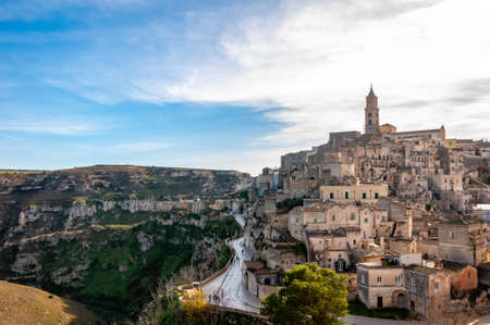 matera, european capital of culture . a city built on the famous stones, carved rocks to obtain houses, living from antiquity 版權商用圖片