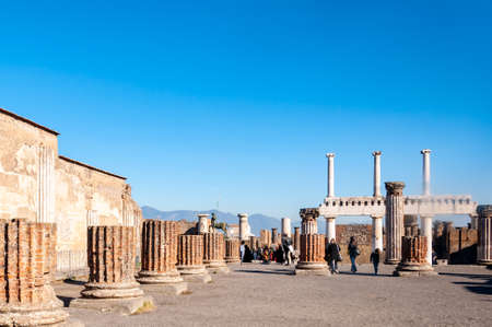 Pompeii, the best preserved archaeological site in the world, Italy. The forum square.