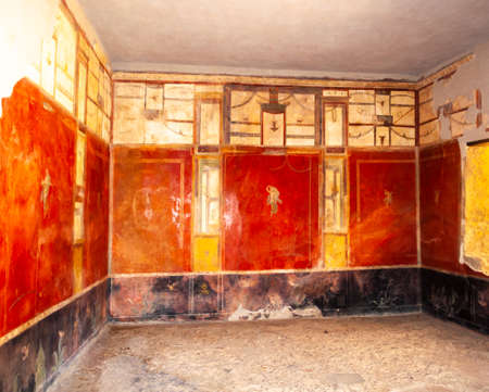 Pompeii, the best preserved archaeological site in the world, Italy. Frescoes on the interior wall at home.