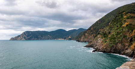 The splendid sea of the Five Lands in Vernazza, Italy. A splendid seaside and fishing village, a popular tourist destination for seaside holidays immersed in unspoilt nature. Stok Fotoğraf