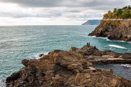 The splendid sea of the Five Lands in Manarola, Italy. A splendid seaside and fishing village, a popular tourist destination for seaside holidays immersed in unspoilt nature.