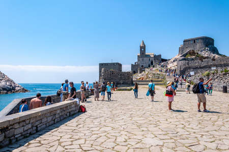 Portovenere, Italy. Beautiful seaside village with the famous gulf of poets that inspired the poems of Byron, a popular tourist destination for beach holidays and tracking in unspoiled nature. Church of San Pietro.