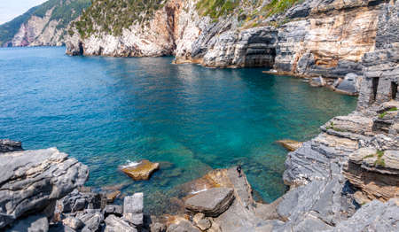 Portovenere, Italy. Beautiful seaside village with the famous gulf of poets that inspired the poems of Byron, a popular tourist destination for beach holidays and tracking in unspoiled nature.