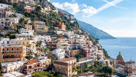Positano, a splendid village and seaside resort on the famous Amalfi Coast, behind the Gulf of Naples and close to Amalfi, Sorrento and Pompeii.