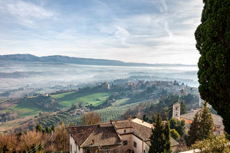 Todi in Umbria, Italy. Panorama from the hill on which the medieval city rises, from the valley of the middle course of the Tiber river, which flows towards Orvieto and Rome.
