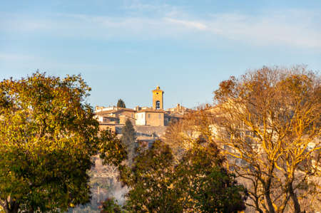 Spoleto in Umbria, Italy. View of the bell tower of the church of Sant'Eufemia and of the medieval city from the hills that surround it.