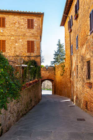 Pienza in Tuscany, Italy.   village, called ideal city in the Renaissance period. Protected by high walls, it is famous for the