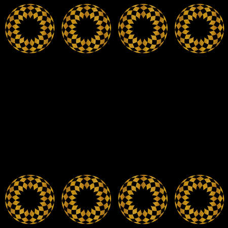 Gold Art Deco pattern on a black background, with linear geometric style. Template for web, wallpaper, digital graphics, packaging, objects, packaging and artistic decorations.