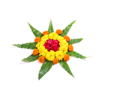 marigold flower Rangoli Stock Photo - 85027172