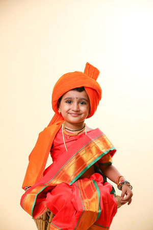 Indian little girl child on sari Stock Photo - 104577561