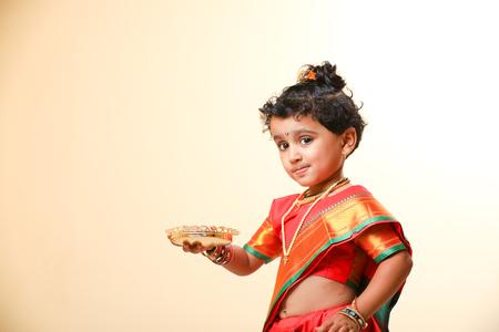 Indian little girl child on sari