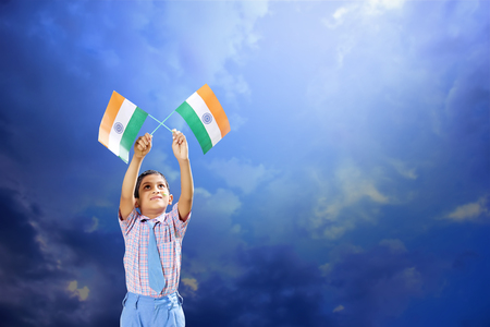 Indian Flag in child hand Banco de Imagens