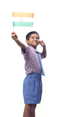 Indian Flag in child hand Stock Photo