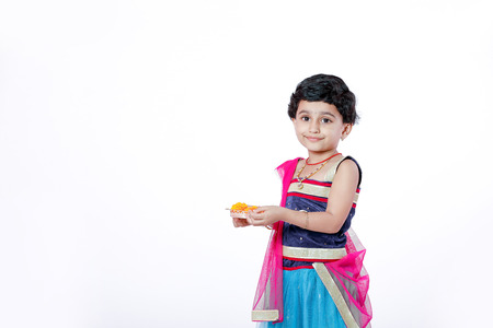 Cute Indian little girl on traditional wear Stock Photo