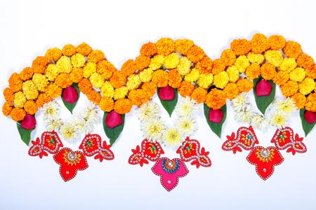 Marigold Flower rangoli Design for Diwali Festival , Indian Festival flower decoration Banque d'images - 110632136