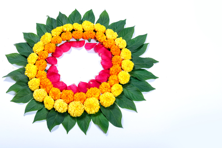 Marigold Flower rangoli Design for Diwali Festival , Indian Festival flower decoration Stock Photo