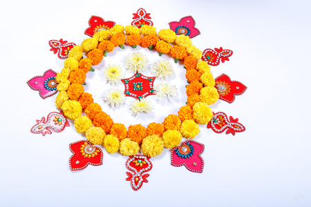 Marigold Flower rangoli Design for Diwali Festival , Indian Festival flower decoration Reklamní fotografie