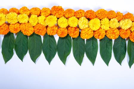 Marigold Flower rangoli Design for Diwali Festival , Indian Festival flower decoration 版權商用圖片