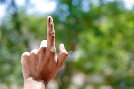 Indian Voter Hand with voting sign 스톡 콘텐츠