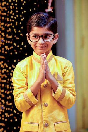 Cute indian Child wearing traditional Wear Stock Photo