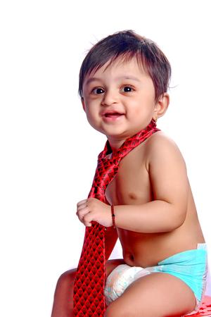 indian baby boy with tie Foto de archivo - 124844155